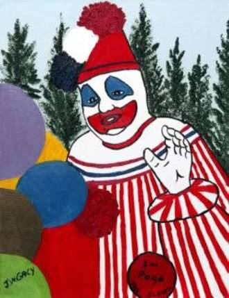"During his time on Death Row, Gacy took up oil painting, and his favorite subject was painting portraits of clowns. He claimed to have used his clown act as an alter ego, once sardonically saying that ""A clown can get away with murder."" After his execution, his paintings were sold at auctions. The main buyer burned the paintings after winning the bids. Another of his famous paintings is of transgressive punk rock singer/songwriter/performance artist GG Allin, who had visited Gacy in prison and corresponded with him until Allin's death in 1993; the painting is in the possession of Allin's brother and bassist, Merle Allin, and a black and white reproduction of the painting can be seen on the front cover of the soundtrack to the GG Allin documentary Hated: GG Allin And The Murder Junkies. His paintings were also used as artwork for the Acid Bath album When the Kite String Pops. As well, Gacy did some paintings for performance artist, musician and actor Glen Meadmore, who corresponded with him for a period of time. A portrait of Meadmore painted by Gacy appears on the front cover of Meadmore's recording Hot, Horny and Born Again. Another painting of Gacy belongs to Dani Filth, frontman of the metal band Cradle Of Filth. Filmmaker John Waters owns one of Gacy's paintings, which Waters says hangs in his guest bedroom ""so people don't stay too long."""