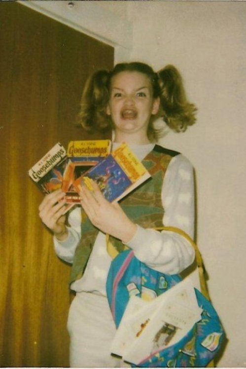 Girl Excited About Goosebumps   The 1990s would have been a better time to be a kid if cameras didn't exist.