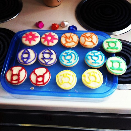 Spending my morning making lantern corps cookies for ladies night @strangeadventrz (Taken with instagram)