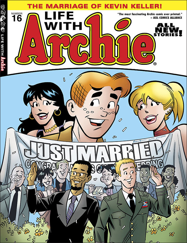"alexsegura:  Archie Comics responds to the American Family Association: ""We stand by Life with Archie #16. As I've said before, Riverdale is a safe, welcoming place that does not judge anyone. It's an idealized version of America that will hopefully become reality someday. We're sorry the American Family Association/OneMillionMoms.com feels so negatively about our product, but they have every right to their opinion, just like we have the right to stand by ours. Kevin Keller will forever be a part of Riverdale, and he will live a happy, long life free of prejudice, hate and narrow-minded people."" — Archie Comics Co-CEO Jon Goldwater  That is an awesome response to homophobes. I would like to say, however, that it'd be awesome if the ""idealized version of America"" were a lot more diverse and less white and heteronormative. Don't get me wrong, I love their response to those homophobic creeps! And that they're giving us a gay military character who's getting married (and in an interracial marriage, too), that's amazing. But it's still side-eye-y that the ""idealized America"" is really really white (and straight and cisgender and pretty monoculture and overall just not very diverse!). So Archie comics, this is awesome! Please continue to give us more main characters who aren't just white, ablebodied straight folks! You guys are really awesome for saying, ""he's here, he's queer, we're used to it"", it would be more awesome if you could give us more main characters of colour and disability and visible religion (and visible LACK of religion, too!) and queerness of all types! I grew up reading these comics and I would seriously pick them up again for more diversity."