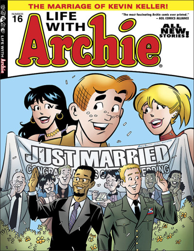 "reanimatrix:  kamidoodles:  gailsimone:  alexsegura:  Archie Comics responds to the American Family Association: ""We stand by Life with Archie #16. As I've said before, Riverdale is a safe, welcoming place that does not judge anyone. It's an idealized version of America that will hopefully become reality someday. We're sorry the American Family Association/OneMillionMoms.com feels so negatively about our product, but they have every right to their opinion, just like we have the right to stand by ours. Kevin Keller will forever be a part of Riverdale, and he will live a happy, long life free of prejudice, hate and narrow-minded people."" — Archie Comics Co-CEO Jon Goldwater  I love these people more all the time. No weasel talk, no shame, no embarrassment, just a positive message in the face of bigots. GO, ARCHIE.  always was a fan, but even more so now~  Archie comics is amazing  This comics cover makes me ridiculously happy.  As does their answer to the shit they're getting over the comics."