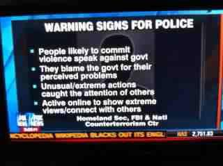 WARNING SIGNS FOR CITIZENS: People likely to commit violence go into politics, military and speak against their citizens. They blame you, drugs, the internet and brown people for their problems. Unusual / extreme actions such as unlawful detainment, breach of privacy, murder and theft. Active in popular media, 3rd world countries and your personal life to spread fear, hate and discontent. They then offer solutions to all 3.