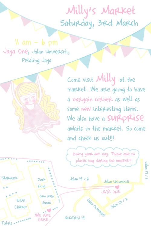 Come visit Milly this Saturday, 3rd March 2012 at Jaya One, Petaling Jaya, Selangor.