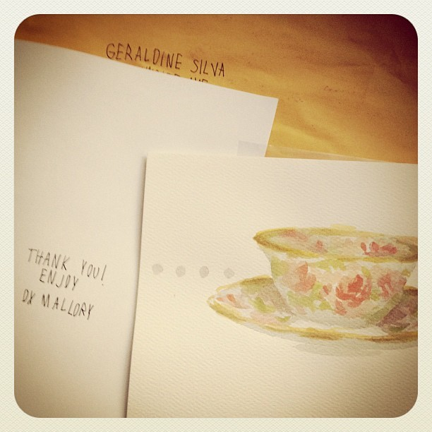 mallorylucille:  geraldaisy:  Just received some lovely snail mail @mallorylucille is so awesome!   (Taken with instagram)  weeee!