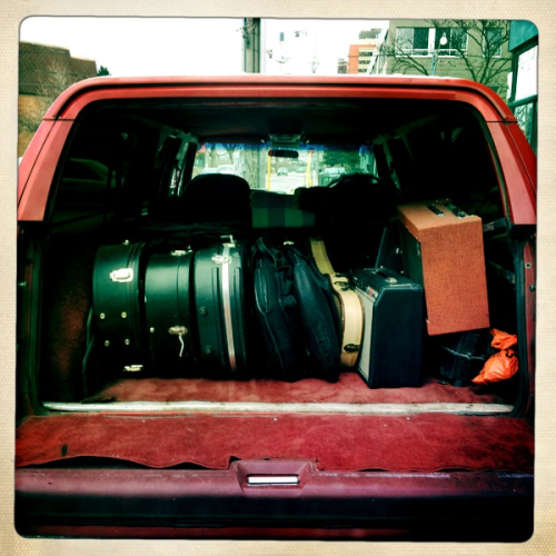 bahamasblog:  Six guitars, three amps and a kick drum. The truck is packed and we're ready to leave. Next stop Texas
