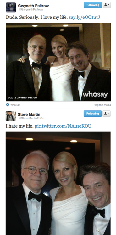 Steve Martin and Gwyneth Paltrow's Very Different Reactions to the Same Picture Hmm, interesting…