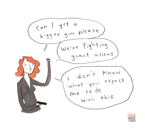 gingerhaze:  Black Widow is just not so sure how well this plan was thought out.  Seriously, guys. Seriously. This is like when you give the Doctor a sonic screwdriver, and Sarah Jane winds up with sonic lipstick. (in re: the new Avengers trailer.)