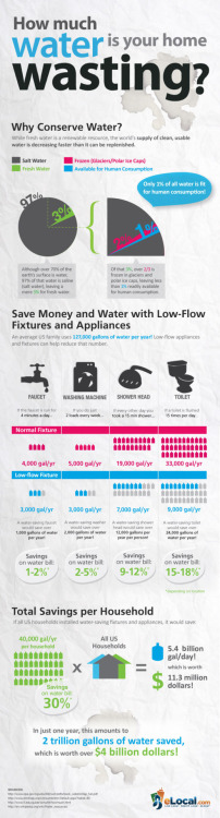 How much water are you wasting at home? It's easy to waste a lot of resources at home. Fortunately, most of  that waste is just a result of not knowing you're actually wasting that  energy or water  and/or being unaware of how easy it can be to NOT waste  those resources. Last week we showed you 4 simple ways to vanquish energy vampires around your home, but this great infographic  is a great primer of how much water you may be wasting at home, and how  much water — and money — you can save by taking one (or several) of a  few simple steps.