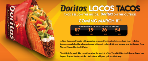 mattgalligan:  There is little more that I am excited about than the Dorito-shell taco.