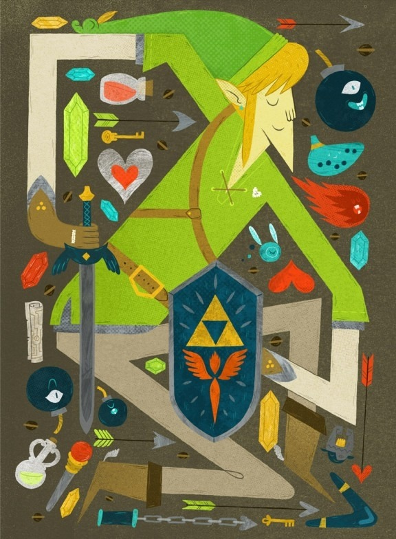 pwnlove:  Art by Jolby Part of Triforce Tribute. Opening next week in Portland, Ore.