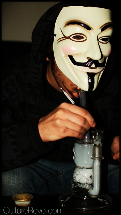anonarts:  anon smoking via CultureRevo.com culturerevo:  Dabs for Anon fam.