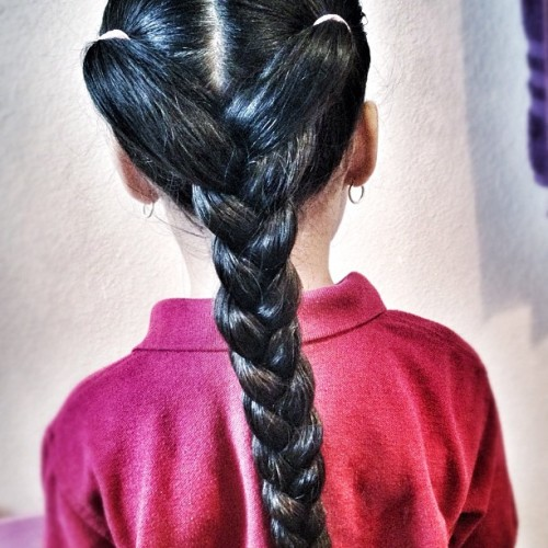 My daughter's hair, everyday a new hairstyle! (Taken with instagram)