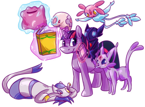 "kittyichooseyou:  A compilation of all 7 of my ""Ponymon team"" pieces. These were so much fun to draw, and eye shattering to color. I hope everyone enjoyed this series! Pinkie Pie Fluttershy Applejack Twilight Sparkle Rainbow Dash Rarity Derpy Hooves  Reblorging because of how much I love Kitty's coloring here. It adds awesome texture and reminds me of printmaking. @3@"