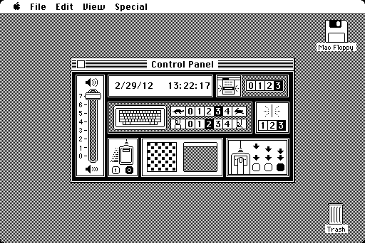 "macfloppy:  Susan Kare designed the original Macintosh Control Panel ""with no text whatsoever.""  We needed a way to control various system parameters like the sound volume, or the mouse scaling parameters. We decided that a desk accessory would be perfect for that, since it would be easy to access no matter what application you were in. So the last desk accessory that I worked on before shipping, in November 1983, was the Control Panel. Susan Kare came up with a beautiful, highly graphical design (with no text whatsoever) that I implemented using a separate purgable resource for each section, so they didn't have to be in memory at once. It had a little rabbit and tortoise to represent a range of speeds, and lots of other graphical embellishments; after the Mac was released, one review described it as a crib toy, which I took more or less as a compliment.  — Andy Hertzfeld"