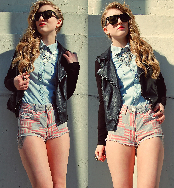 lookbookdotnu:  Faded Flag Hotpants (by Olivia Shutey)