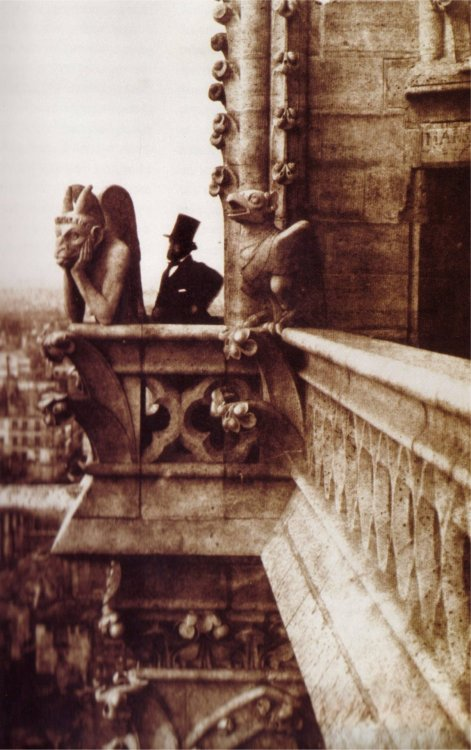 "Charles Nègre, Henri Le Secq and ""Le Stryge"" on Notre Dame de Paris, 1853."