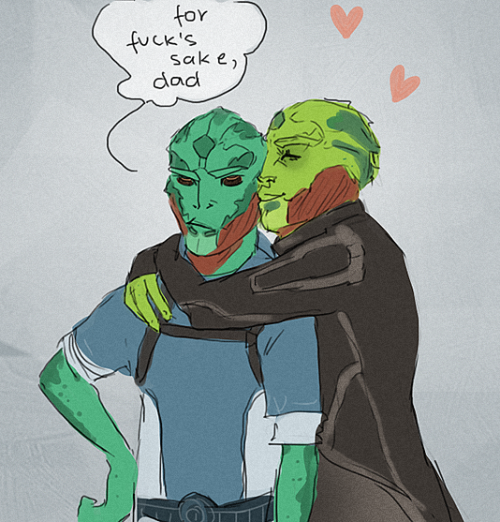 saxyjep:  domirine:  i imagine that thane really misses kolyat and enjoys visiting him. kolyat… not so much. ok, he does, but he'll never admit it.  Forever reblog.  I just love this picture so much.