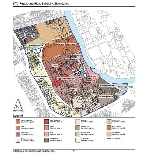 """Can Zoning Save a Downtown? Kaid Benfield. Feb 28, 2012 A city cited not long ago as the nation's most sprawling is now firmly on a path to become substantially greener. In particular, two weeks ago I described the Nashville region's impressive commitment to reform its transportation investments to support increased transit access, walkable neighborhoods, and a strengthened sense of place. And there's more. Writing on his blog Old Urbanist, Charlie Gardner describes recent improvements to the Music City's downtown zoning:  'In addition to its plans for the region, Nashville has revamped its zoning code, adopting in 2010 what is in substance, if not in name, a form-based code for its downtown. The changes are some of the most promising I've seen in any code revision for a major American city, including the repeal of most of use-based zoning limitations and the elimination of all parking minimums within the downtown area. It's a long overdue change for a downtown with a particularly tragic 20th century planning history.'  The new zoning code has been designed explicitly to give legal expression to a downtown community plan adopted in 2007 to strengthen the character and walkability of neighborhoods. The city hopes these neglected areas will evolve into 24-hour districts that host residential as well as commercial uses. To accomplish this, the new code regulates the form of buildings so that, for example, building height guidelines allow increased density in logical patterns but building uses are allowed to vary to encourage mixed uses so long as they support an inviting streetscape:  'In an urban environment, the street level design and function of a building is of the utmost importance. The interaction of the building with the street should enliven the street, making it comfortable, safe and interesting for pedestrians. The DTC is based on frontage design – storefront, stoop, porch, industrial, and civic – and includes standards on glazing, vehicular access, landscaping, and active uses on the ground level. Correctly designed, these attributes will contribute to safe and interesting streets to result in vibrant neighborhoods and a healthy Downtown.'""  Via: The Atlantic & massurban"