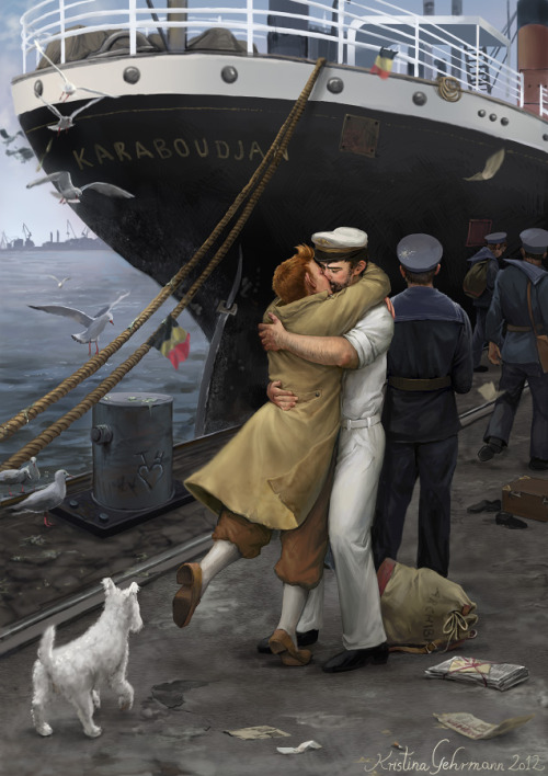 "Reunion at Ostend Harbour - Homecoming - 1945 Painted in Photoshop using a Wacom tablet. Took between 20-30 hours, spread over several days. Inspired by the fanfiction ""Homecoming"" by Azzy.I will make another  version of this, a non-Tintin/non-fanart painting with different  characters. I love painting Tintin fanart but for an aspiring pro  illustrator, fanart is so useless - I can't sell prints of it, can't  license it to anyone, can't make merchandise of it, can't show it at  some websites, can't enter it in many contests, etc. etc. :/ Also, I  don't want to ruin a potential client's childhood. Sorry if this just ruined yours. Larger image here"