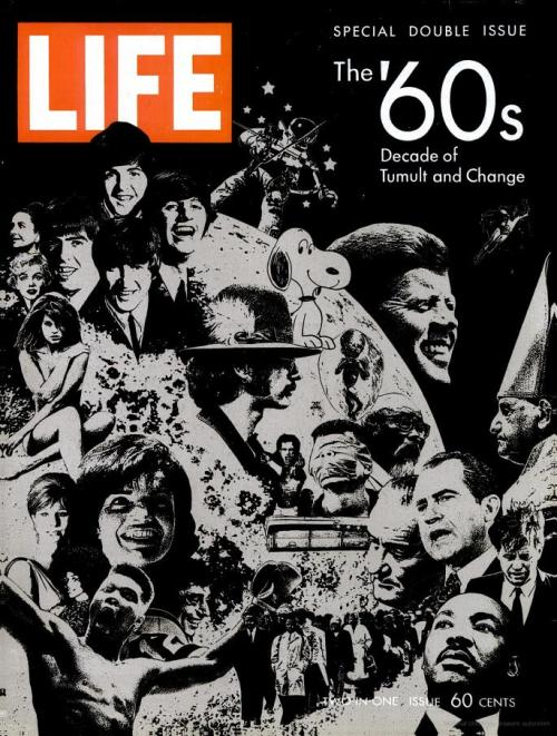 "LIFE magazine, December 26th, 1969The '60s: Decade of Tumult and Change""It is tempting for historians — and perhaps even more so for journalists — to paste a specific label on a decade. LIFE has labeled this special issue 'The Decade of Tumult and Change.' It was certainly that.And yet the significant moments of a decade rarely begin with the opening year and then stop neatly on calendar cue ten years later; men and events are not so tidy with time. The last decade in America that perhaps deserved a single, embracing label, was the '30s: surely it was a decade dominated from beginning almost to end by the Great Depression. The '40s, however, were sharply divided between World War II, over in 1945, and the post-war years, a period for America of worldwide involvement and rebuilding. Nor did the second phase of the '40s end with the decade. It continued into the '50s, which eventually became a period of relative tranquility and peace, of the cold war and the silent generation.The '60s, a time of tremendous forces and changes, will be analyzed and argued about for years to come. But we suggest that this decade, in terms of American life and the American scene, breaks into two fairly distinct parts. In the first, there was a brisk feeling of hope, a generally optimistic and energetic shift from the calm of the late '50s. Then, in a growing swell of demands for extreme and immediate change, the second part of the decade exploded — over race, youth, violence, life-styles and, above all, over the Vietnam war. These explosive years will carry over into the '70s, and it is impossible to predict when they will end.The great trends and themes of this turbulent era were, indeed, already in motion during the early years of the '60s, but they became dominant only in the second half of the decade. If a single event can be picked to mark the dividing line, it is not the assassination of President Kennedy in 1963, an isolated national tragedy brought about by the act of a single megalomaniac, but the Watts riots in Los Angeles in August 1965. It was Watts, sudden and violent, that finally ripped the fabric of lawful democratic society and set the tone of confrontation and open revolt so typical of our present condition.The tumbling years began with a new President inviting his countrymen of all ages to accept a share of the burdens of leadership. This invitation, with its eloquent appeal to idealism, reached the young of America, and they responded not only by joining the Peace Corps but by beginning to study the possibility that they had an urgent stake in the quality of American life. This involvement would lead, eventually, to enormous outbursts of protest against a profusion of targets.In these early years [of the decade], despite Russian dominance in space, the Bay of Pigs, the small but growing conflict in Vietnam, the backlash against civil rights action and the rising black unrest in the cities, there was a certain optimism that good ends could be accomplished in an orderly and even joyful fashion. The country was eager for heroes and signs of national achievement, and John Glenn provided both when, in the winter of 1962, he orbited the earth three times. And then the President was shot. The long weekend of mourning brought us closer together as a people than we have been at any time since. The sense of disillusionment and of important things begun but never completed ran parallel with grief. Lyndon B. Johnson's first years in the White House, though marked by proclamations of the Great Society and outstanding congressional action, particularly in the field of civil rights, were accompanied by deepening involvement in Vietnam. By the end of 1965, Vietnam had become a real war — and a national trial. At the same time, American viewers watched in nightly disbelief television film of rising disorders in their own land, in their own streets and in their own campuses. The explosive years have arrived."""