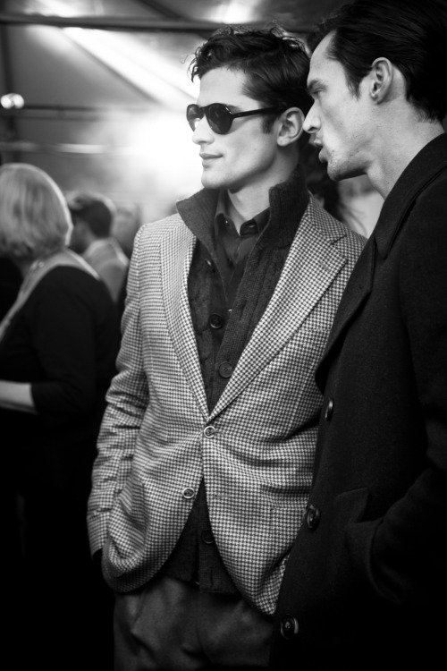 "Sean backstage at Joseph Abboud I'll post the hi res of the  ""First Fashion Tebow"" sometime."