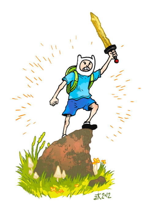 Finn the human! I'll be posting Adventure Time related drawings once or twice a week for a while. I wonder how long I'll last. This one was a quick doodle, I'll try harder on the next one. It's just some Micron pen (size 5, I think) and digital colors.
