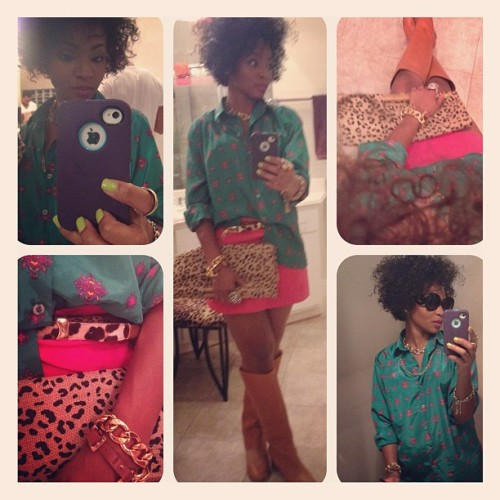 Blocked just bright…. Blouse thrifted, skirt h&m ,boots Zara , jewels random bag thrifted.#personalstyle #fashion (Taken with instagram)