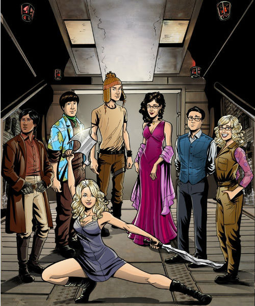 fuckyeahfirefly:  The BIG BANG THEORY-cast re-imagined as the FIREFLY-crew Artwork by Scott Edelman, found on Blastr I rebloged from maskedmarauder