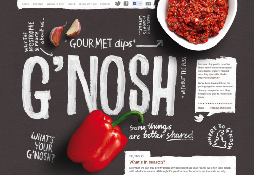 designdust:  Who's up for G'nosh? Found this lovely one page website! So in love, makes me want to buy all the flavours.
