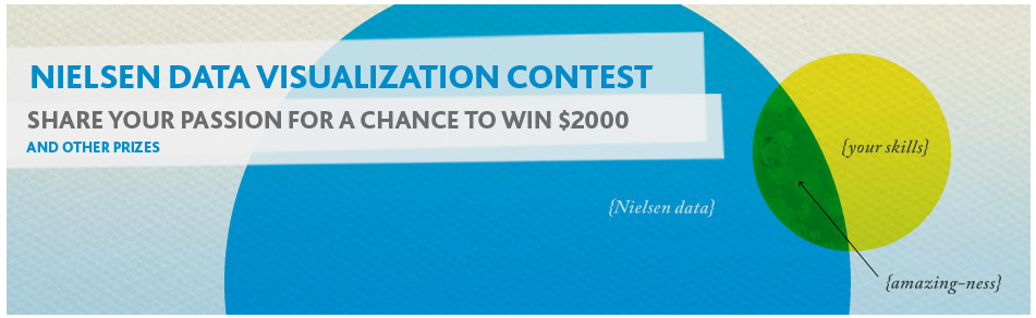 Nielsen Infographic Contest Do with this info what you will:  WHO:               Experienced and budding designers, artists, data scientists and laypeople from around the U.S.   WHAT:             Nielsen is searching for innovators – passionate designers at the intersection of art and science – to compete in creating the most insightful, beautiful and intuitive visualizations of some of our data.  For this inaugural contest, we are taking recent Nielsen and NM Incite media usage intelligence and setting it free. Your task is to help make sense of emerging trends and topics in that data—and to translate the data into a work of art that is creative, tells a story and portrays the data successfully and accurately.   WHEN:             Launching February 28, submissions are due by March 29. The Judges' Prize winner will be announced mid-April, while the Fan Favorite will be dubbed at the end of April.    WHERE:           Visit Nielsen.com/dataviz2012 for contest rules  and to submit your entry.   WHY:                Beyond the recognition by your peers, we will showcase the best examples for our clients, some of the largest brands on the planet. PLUS, the Judges' Prize and Fan Favorite winners will be awarded $2,000 in American Express gift cards, among other prizes. The winning design will also be featured at Nielsen's Consumer 360 event in June, on the Nielsen Wire and on NMIncite.com.