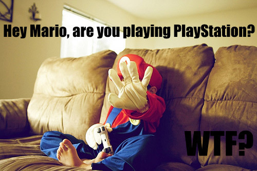 Mario playing PlayStation