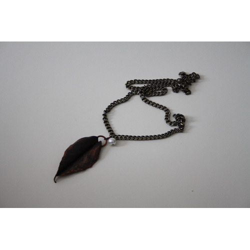 Leaf and Faux Pearl Necklace -  One of a kind, leaf pendant made by me, found faux pearl and chain. Considering selling these in my shop at some point. Thoughts?