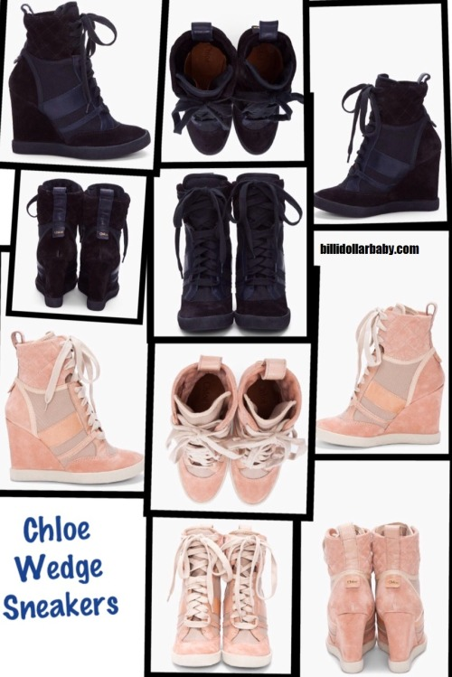 billidollarbaby:  Chloe Wedge Sneakers ($645) Since the Isabel Marant Willow Sneakers are sold out practically everywhere, here is an inspired wedge sneaker by Chloe.