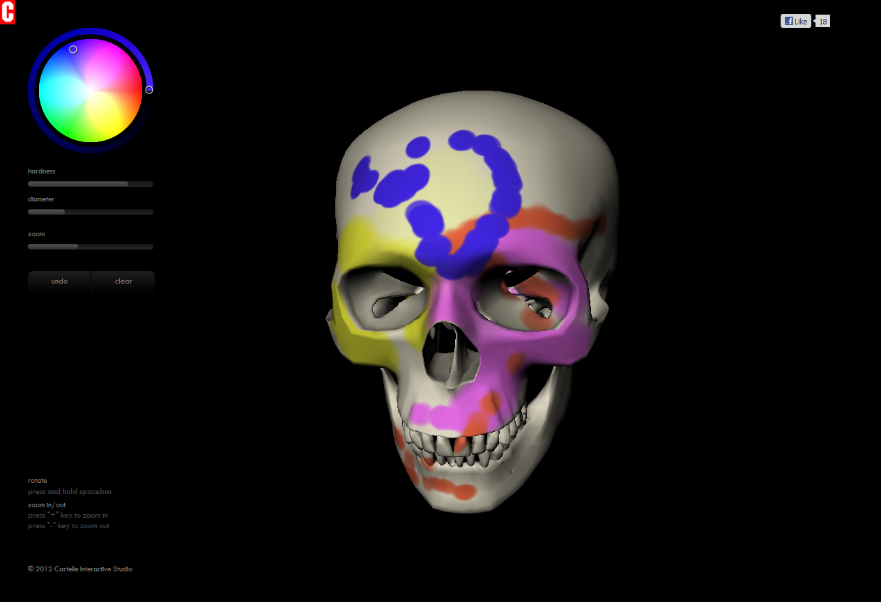 DeathPaint  An interactive, browser-based painting toy allows you to paint the surface of a 3D model skull - powered by three.js and WebGL. Try it out here