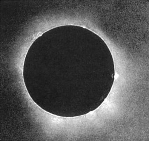 rvlvr:  The first daguerreotype of a solar eclipse  The first correctly-exposed photograph of the solar corona was made during the total phase of the solar eclipse of 28 July 1851 at Königsberg (now Kaliningrad) by a local daguerreotypist named Berkowski. Berkowski observed at the Royal Observatory following a proposal by its director A. Busch. A small refracting telescope (D = 6.1 cm, f = 81.2 cm) was attached to the hour drive of the 15.8-cm Fraunhofer heliometer, and a 84-s exposure was taken shortly after the beginning of totality. After the eclipse, Busch (who did not observe the eclipse at Königsberg but at Rixhöft), published some details about the daguerreotype (without mentioning Berkowski's first name) and ordered a local artist (R. Trossin) to make an enlarged steel engraving from the daguerreotype plate. On the original plate the moon's diameter is 7.85 mm, and at least 5 prominences are well visible on the limb of the sun. Later Berkowski himself made some daguerreotype reproductions from his original plate.   1851. EIGHTEEN FIFTY-ONE. Incredible.