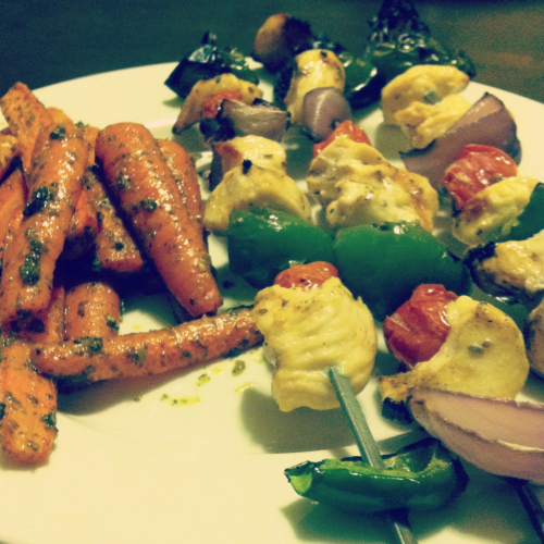 Chicken Kebabs with Spicy Cilantro Carrots