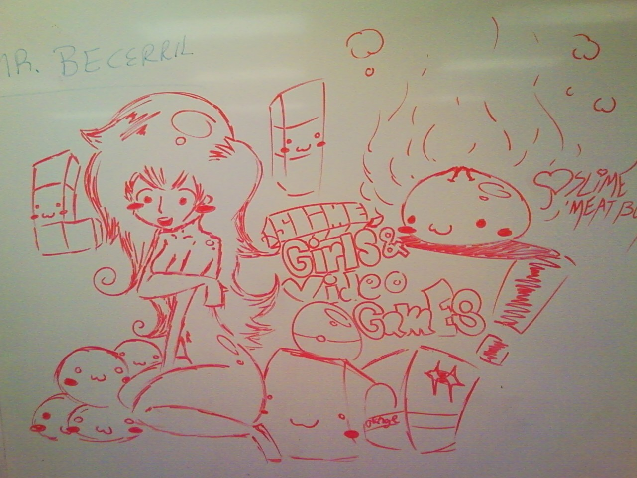 Something I drew on the whiteboard in my Economics class today.I didn't realize how big I made her forearm until looking at the picture now. Also that really long side of her left eye is actually part of her hair.