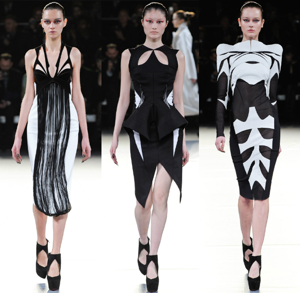 stitchofgrace:  Black and white looks from Mugler Fall 2012