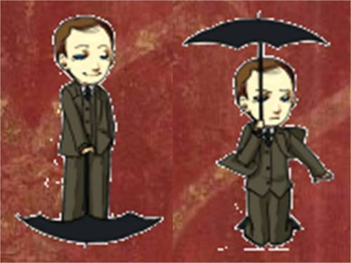 I've decided that Mycroft is my favorite Shimeji, just because of the way he uses his umbrella.