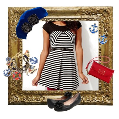 So this is the first piece that I made on Polyvore. I thought the dress was adorable and a great piece to wear day or night. Here I styled it a bit on the casual side with some fun accessories. Its a great buy at only $13! Its funny how the dress costs a lot less than the other pieces. It is definitely a lively piece that everybody should have in their wardrobe.   Nautical Spring Olsenboye boat neck dress, $13Juicy Couture ballet shoes, $135MICHAEL Michael Kors red clutch, $80Betsey johnson jewelry, $135Betsey Johnson anchor stud earrings, $25Helene Berman beret hat, £38