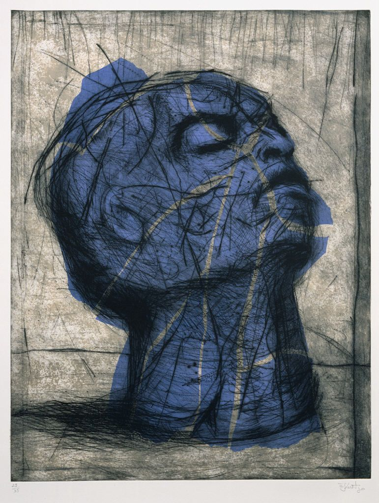 cavetocanvas:  William Kentridge, Blue Head, 1993-98