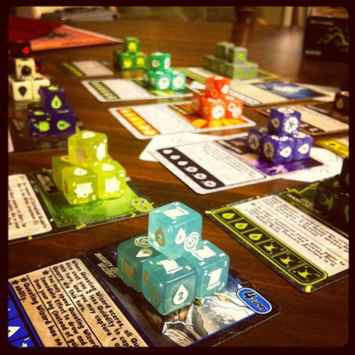Quarriors (w/Rise of the Demons exp.) #gamenight #boardgame  (Taken with instagram)
