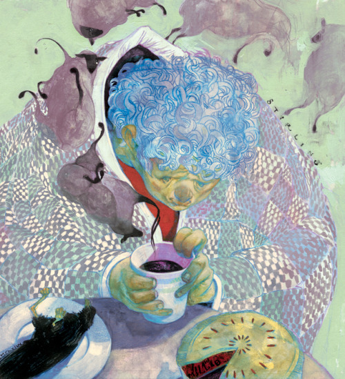 """Breakfast of the Undesirable"" by Sterling Hundley from the ""Blue Collar/White Collar"" monograph published by Adhouse Books.  Facing a home remedy of sheep dung tea for his ailments, a young boy refuses to drink the putrid brew. Growing weaker each day, he finally gives in, begging for anything that might ease his illness.  Shown hear drinking sheep dung tea, eating crow and humble pie. From a story and illustration first created for Virginia Living magazine."