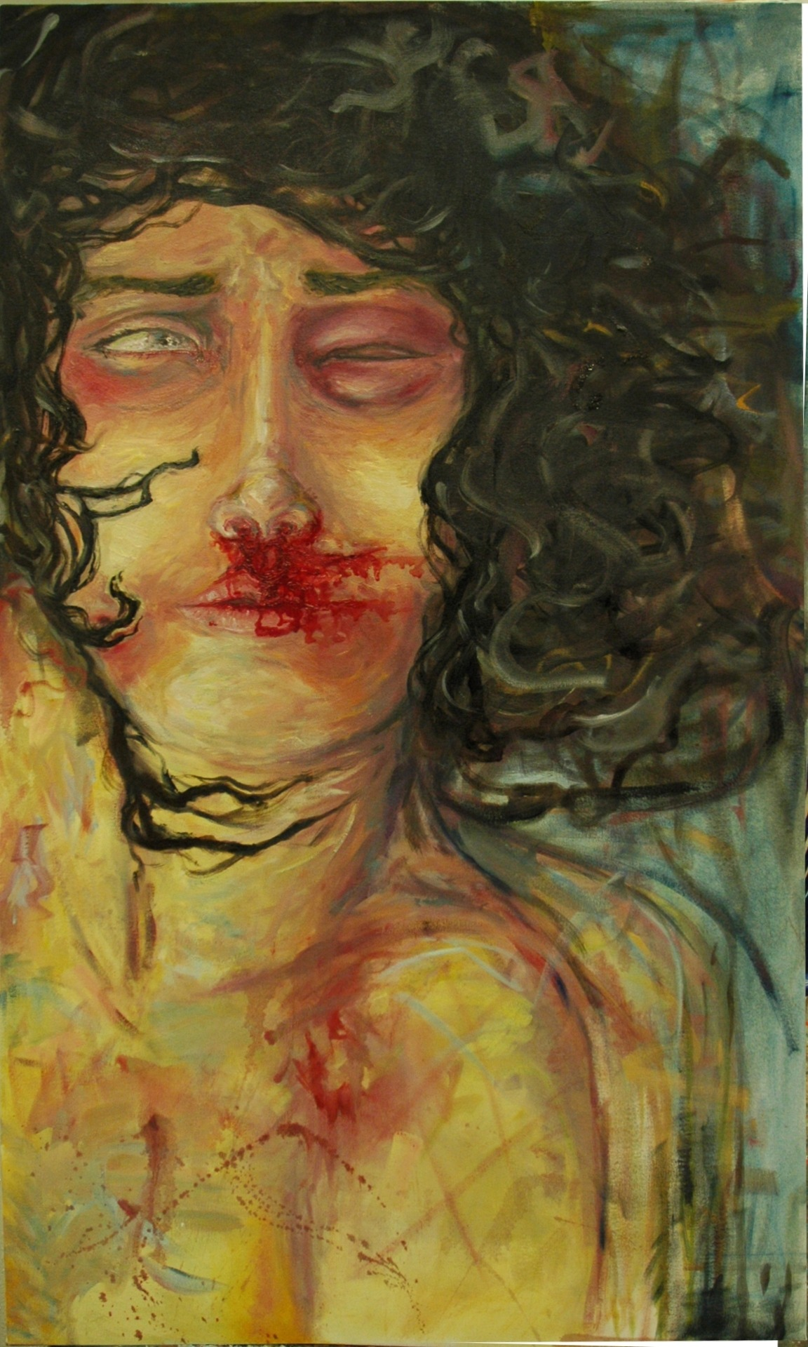 "buomhof:  Asking For It. 2012. Oil on canvas. 56"" X 32""  feeling traumatized and bitter about my past."