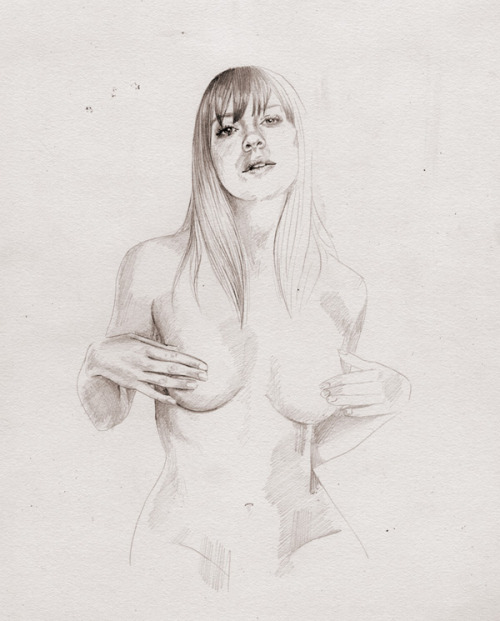 "ssdmmfr:  Artist & Illustrator: Elisabeth Moch Part of the ""NAKED IF I WANT TO"" Series  ""Pin up series of my favourite celebrities without clothes on for Fanzine#1."""