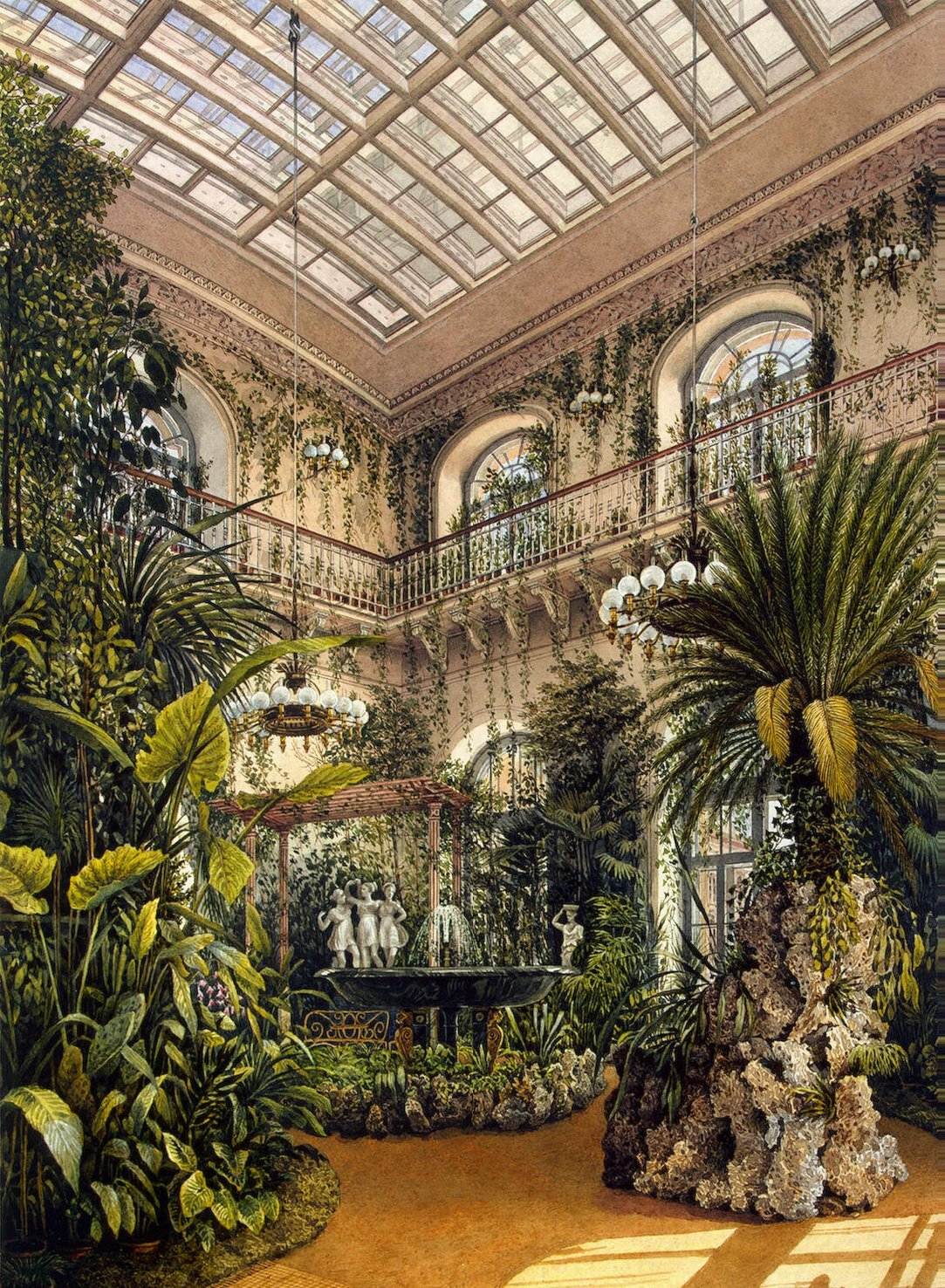 Interiors of the Winter Palace. The Small Winter Garden of Empress Alexandra Fyodorovna - Konstantin Andreyevich Ukhtomsky - Hermitage Museum