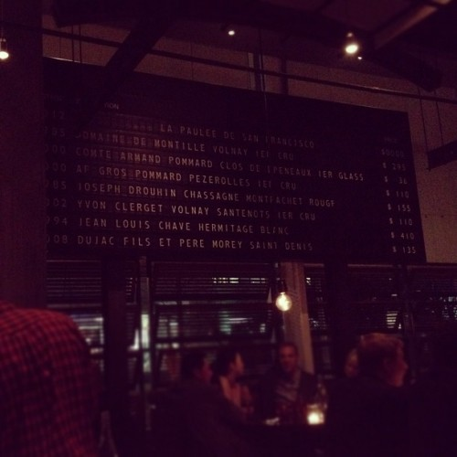 Badass wine board at RN74. Inspired by the old school train time tables in France.
