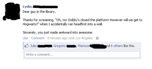 This is the way to find awesome people around. They have read Harry Potter AND manage to make something out of it to just make your day brighter.