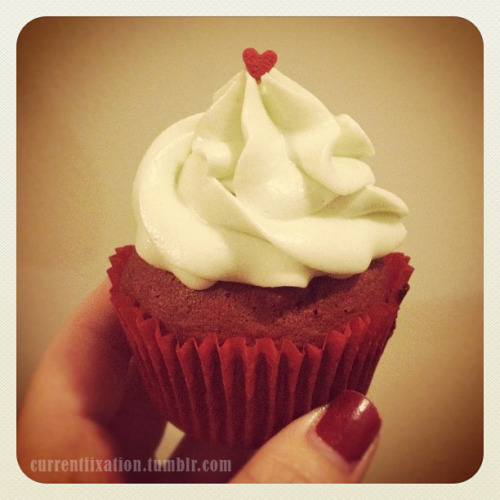 Red Velvet Cupcakes with Cream Cheese Frosting. Just made these to play with my new KitchenAid :)