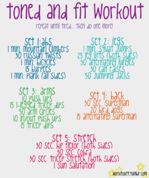 workitoutt:  i haven't seen many workouts that try to incorporate all body parts and includes stretching so i thought i would make my own, enjoy :)